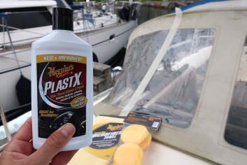 PRODUKTER: Det som skal til er en flaske PlastX, poleringspad og en mikrofiberklut.