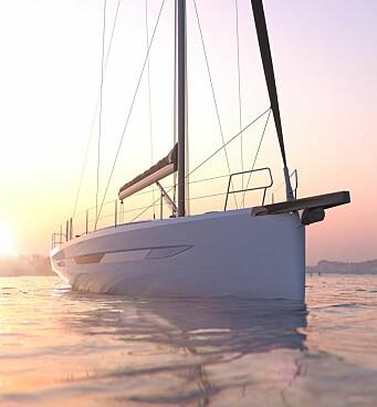 BAUG: Båten har et baugspryd i karbon som standard. Riggen er fra Seldén.