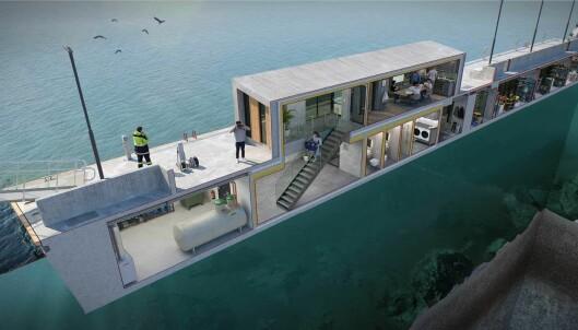 SERVICE: Den nye brygga har en etasje under vann med dusj, toaletter, vaskerom og trimrom.